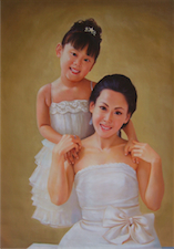 Mother-daughter , Photo to Oil Painting